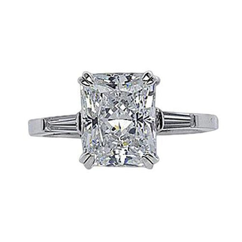 2.11 Carat Radiant & Baguette Diamonds Three Stone Engagement Ring Three Stone Ring