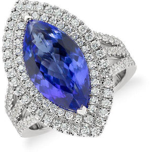 21.25 Ct Solitaire With Accent Tanzanite With Diamonds Ring Gold 14K Gemstone Ring