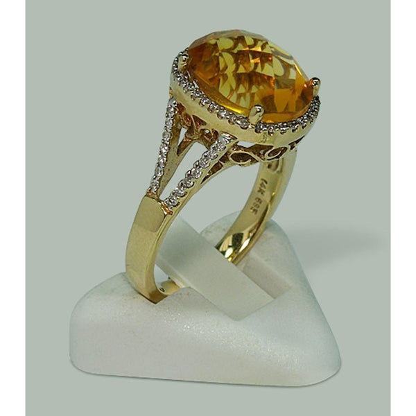 Gemstone Ring 4.75 Carats Citrine & Diamond Ring With Accents Yellow Gold 14K