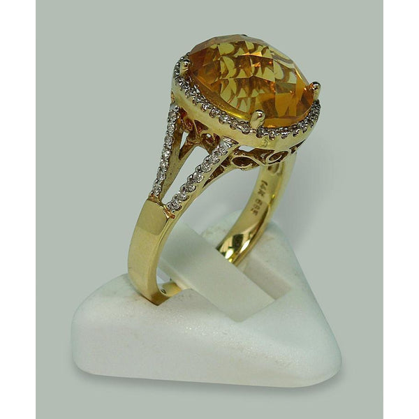 4.75 Carats Citrine & Diamond Ring With Accents Yellow Gold 14K Gemstone Ring
