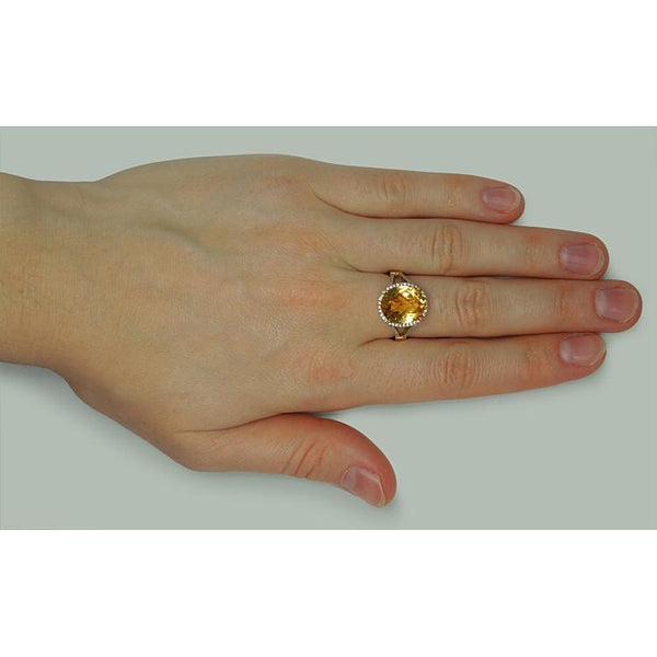 4.75 Carat Citrine & Diamonds Ring Solitaire With Accents White Gold 14K Gemstone Ring