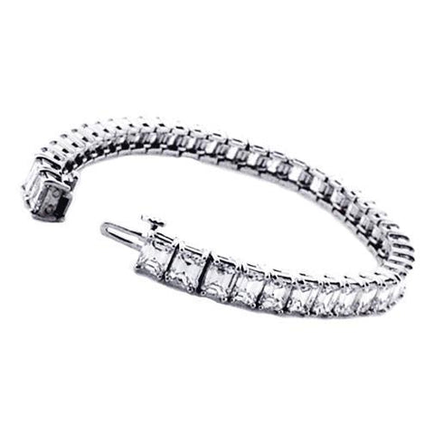 21.50 Ct Sparkling Emerald Cut Diamond Tennis Bracelet White Gold Tennis Bracelet