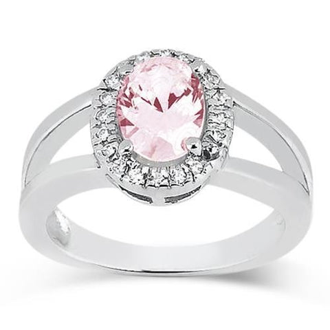 2.16 Cts. Oval Pink Center Diamond Wedding Gemstone Ring Gemstone Ring