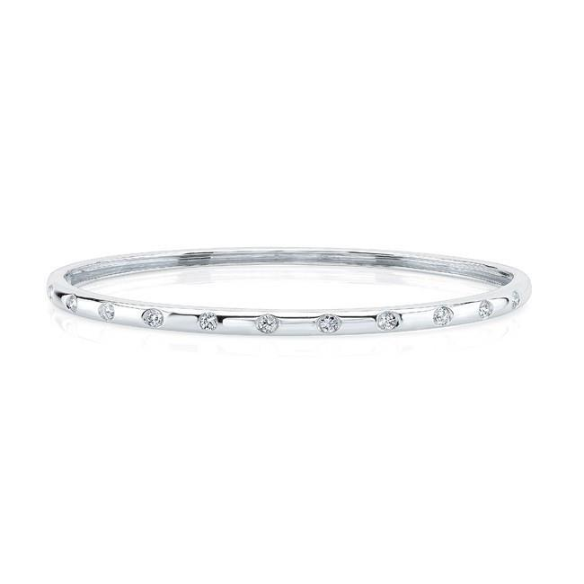 2.2 Ct Brilliant Cut Diamonds Ladies Bangle Bracelet 14K White Gold Bangle