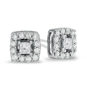 2.2 Ct Four Prong Set Princess & Round Diamond Stud Earring Halo Halo Stud Earrings