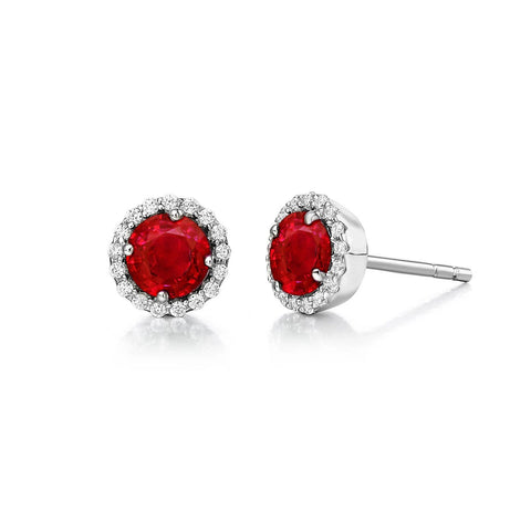 2.2 Ct Round Cut Red Ruby Diamond Stud Earring Halo Gemstone Earring