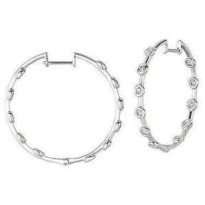 2.2 Ct Sparkling Round Cut Diamond Hoop Earring 14K White Gold Hoop Earrings