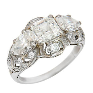 2.20 Carats Assher Cut Center Diamond Antique Style Ring White Gold Jewelry Ring