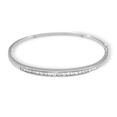 2.20 Carats Channel Set Round Diamond Bangle Bracelet White Gold 14K Bangle