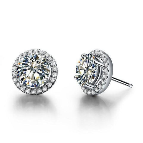 2.20 Carats Prong Set Round Halo Diamonds Lady Studs Earrings 14K White Gold Halo Stud Earrings