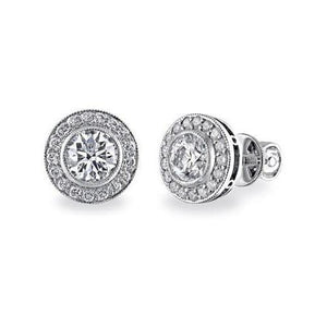 2.20 Carats Round Cut Halo Diamond Stud Earring Fine Gold Jewelry Halo Stud Earrings