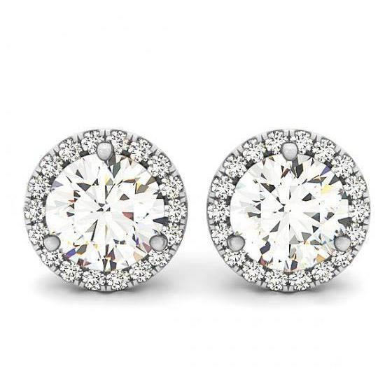 2.20 Carats Round Diamonds Halo Pair Studs Earrings White Gold Halo Stud Earrings