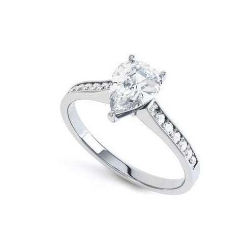 2.20 Ct Pear And Round Cut Diamonds Solitaire Ring With Accent White Gold 14K Solitaire Ring with Accents