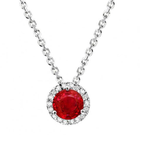 2.20 Ct Round Cut Red Ruby And Diamond Women Pendant White Gold 14K Gemstone Pendant