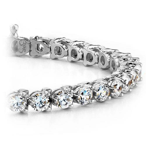 Tennis Bracelet Three Round Diamond Tennis Bracelet White Gold Fine Jewelry 10 Ct.