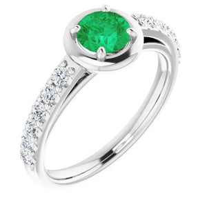 2.25 Carats Green Emerald And Diamond Ring White Gold 14K Gemstone Ring
