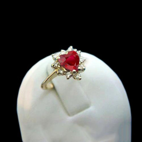 2.25 Carats Heart Cut Ruby And  Diamond Ring Yellow Gold 14K Gemstone Ring