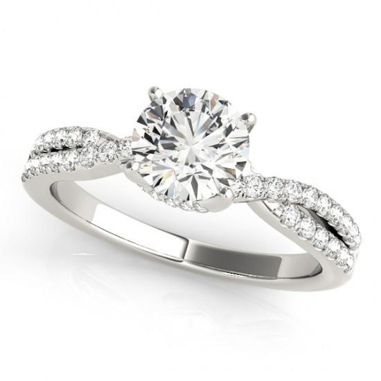 2.25 Carats Round Diamonds Solitaire With Accents Ring White Gold 14K Solitaire Ring with Accents