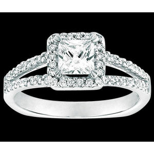 2.25 Ct. Halo Diamonds Ring Solitaire With Accents Gold Halo Ring
