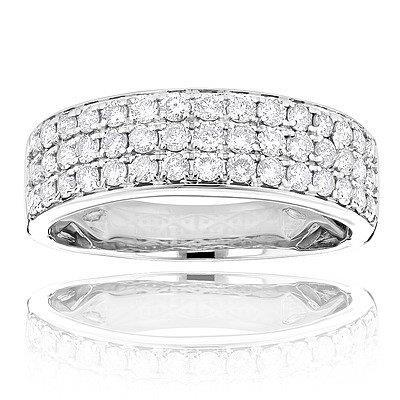 2.25 Ct Small Round Cut Sparkling Diamond Wedding Band 14K White Gold Band
