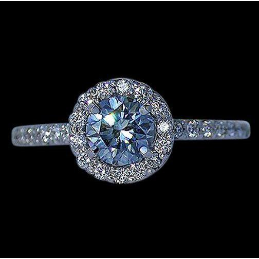 2.26 Ct Blue Diamond Halo Setting Gemstone Ring Wedding 14K White Gold Gemstone Ring