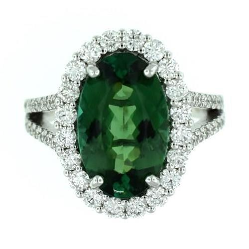 23 Ct Green Tourmaline And Diamond Ring 14K White Gold Gemstone Ring