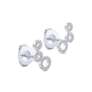 2.3 Ct Halo Round Brilliant Cut Stud Earring 14K White Gold Halo Stud Earrings