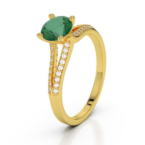 2.30 Carats Prong Set Emerald With Diamonds Ring Gemstone Yellow Gold 14K Gemstone Ring