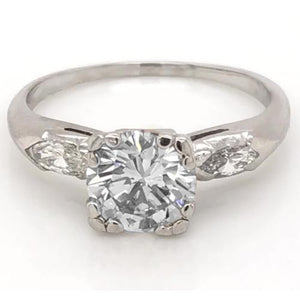 2.30 Carats Round Diamond Three Stone Ring Marquise F Vs1 White Gold 14K Jewelry Three Stone Ring