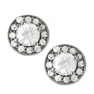 2.30 Carats Round Diamonds Halo Studs Earrings Pair White Gold 14K Halo Stud Earrings