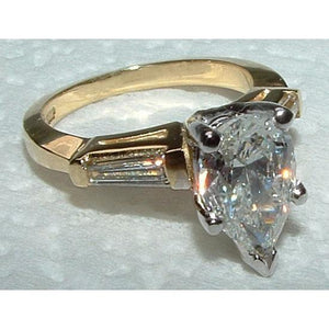 2.31 Ct. Diamonds Pear Cut Ring Two Tone Gold Ring Ring