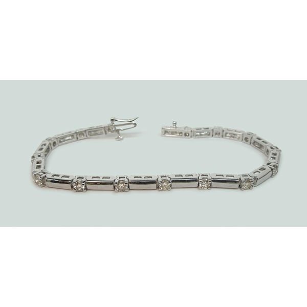 2.5 Carats Round Diamonds Bar Bracelet Clean Design White Gold 14K Tennis Bracelet