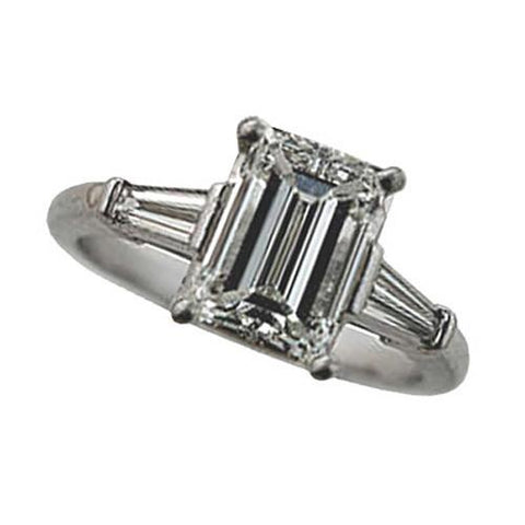 2.35 Carat D Vvs1 Emerald Cut Diamond Three Stone Anniversary Ring White Gold 18K Three Stone Ring