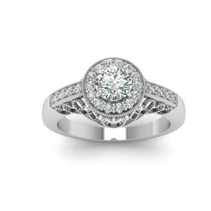 2.35 Carats Round Cut Diamonds Antique Style Wedding Ring White Gold Halo Ring