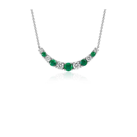 24 Carats Round Cut Emerald With Diamond Necklace White Gold 14K Gemstone Necklace