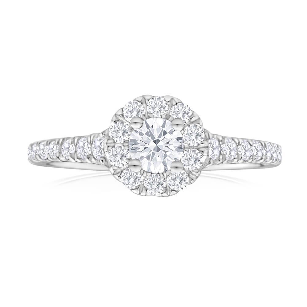 2.4 Ct Brilliant Cut Diamond Engagement Ring 14K White Gold Halo Ring