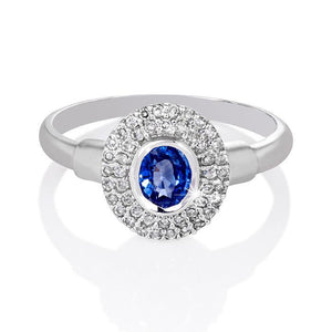 2.4 Ct Brilliant Cut Sri Lanka Sapphire Diamonds Ring Gemstone Ring