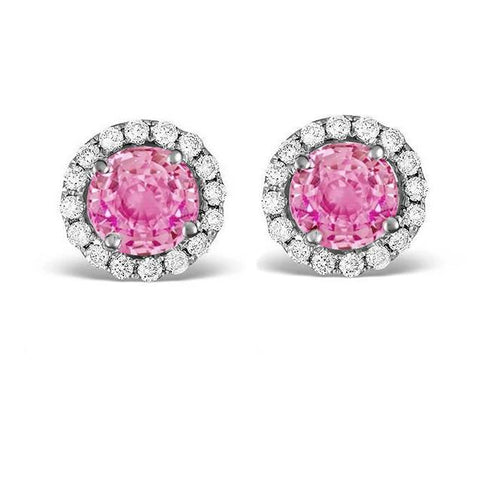 2.4 Ct Pink Sapphire And Diamond Stud Earring Halo White Gold 14K Gemstone Earring