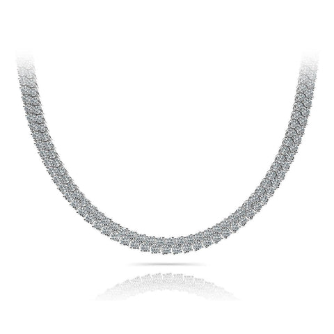 24 Ct Prong Set Round Diamond Checkerboard Necklace White Gold 14K Necklace