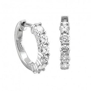 2.4 Ct Prong Set Round Diamond Hoop Earring Hoop Earrings