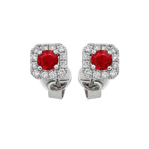 2.4 Ct Red Ruby And Round Cut Diamond Stud Halo Earring White Gold 14K Gemstone Earring