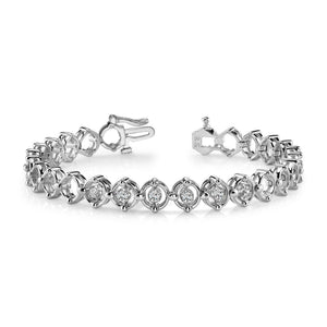 2.4 Ct Round Cut Diamond Link Bracelet 14K White Gold Tennis Bracelet