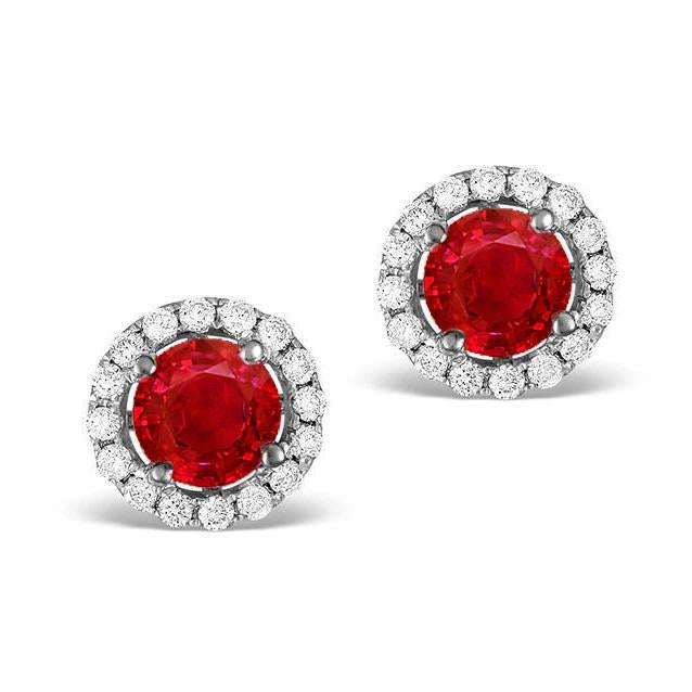 2.4 Ct Round Cut Red Ruby And Halo Diamond Stud Earring Gemstone Earring
