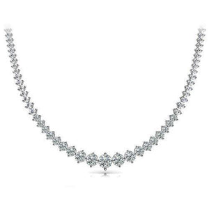 24 Ct Small Round Cut Diamonds Ladies Necklace 14K White Gold Necklace