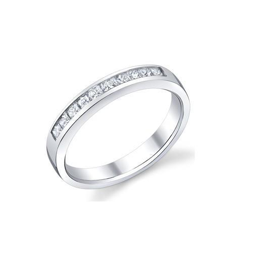 2.4 Ct Sparkling Princess Cut Diamond Eternity Band 14K White Gold Eternity Band