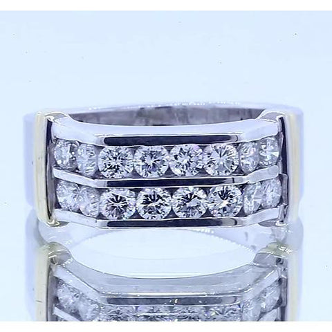 2.40 Carats Classic Round Diamond Men'S Ring 14K White Gold Mens Ring