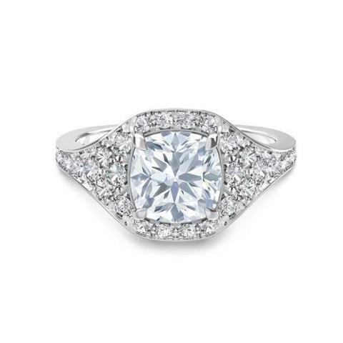 2.40 Carats Solitaire With Accent Diamonds Wedding Halo Ring White Gold Halo Ring