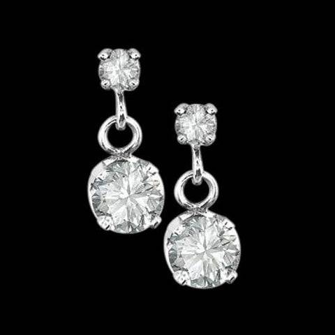 2.40 Carats Sparkling Round Brilliant Diamonds Dangle Earrings Pair Dangle Earrings