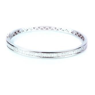 2.45 Ct Baguette Cut Diamond Ladies Bangle White Gold Jewelry Bangle