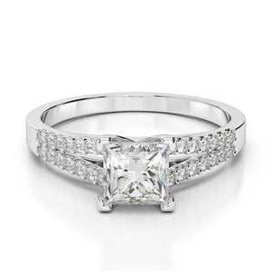 2.45 Ct Princess And Round Cut Diamonds Wedding Ring 14K White Gold Solitaire Ring with Accents